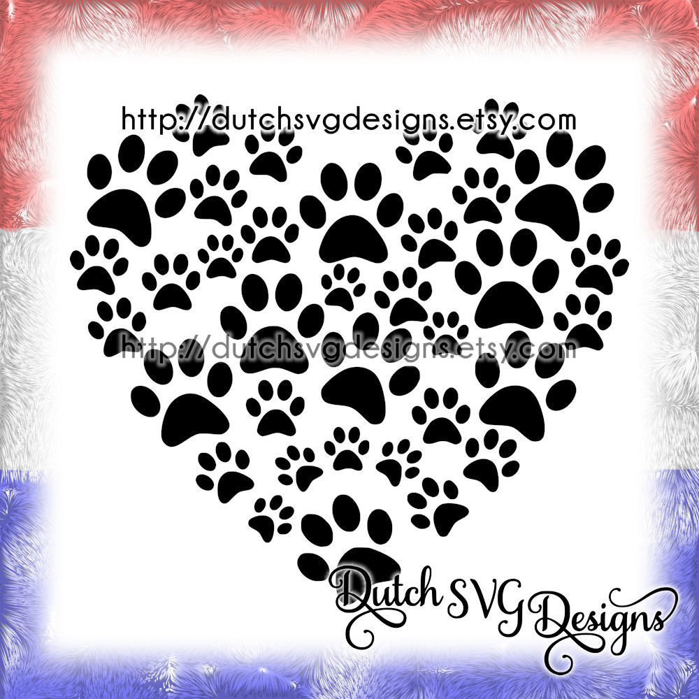 Cutting File Pawprints In The Shape Of A Heart In Jpg Png Svg Eps