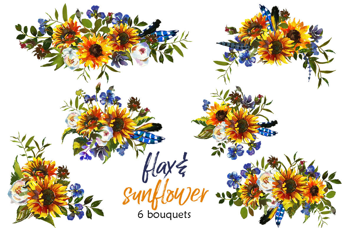 Boho Sunflower Flax Flowers Bull Scull Feathers Clipart By ...