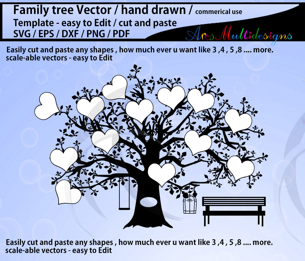 Family Tree Vector SVG Template / Hand Drawn Tree