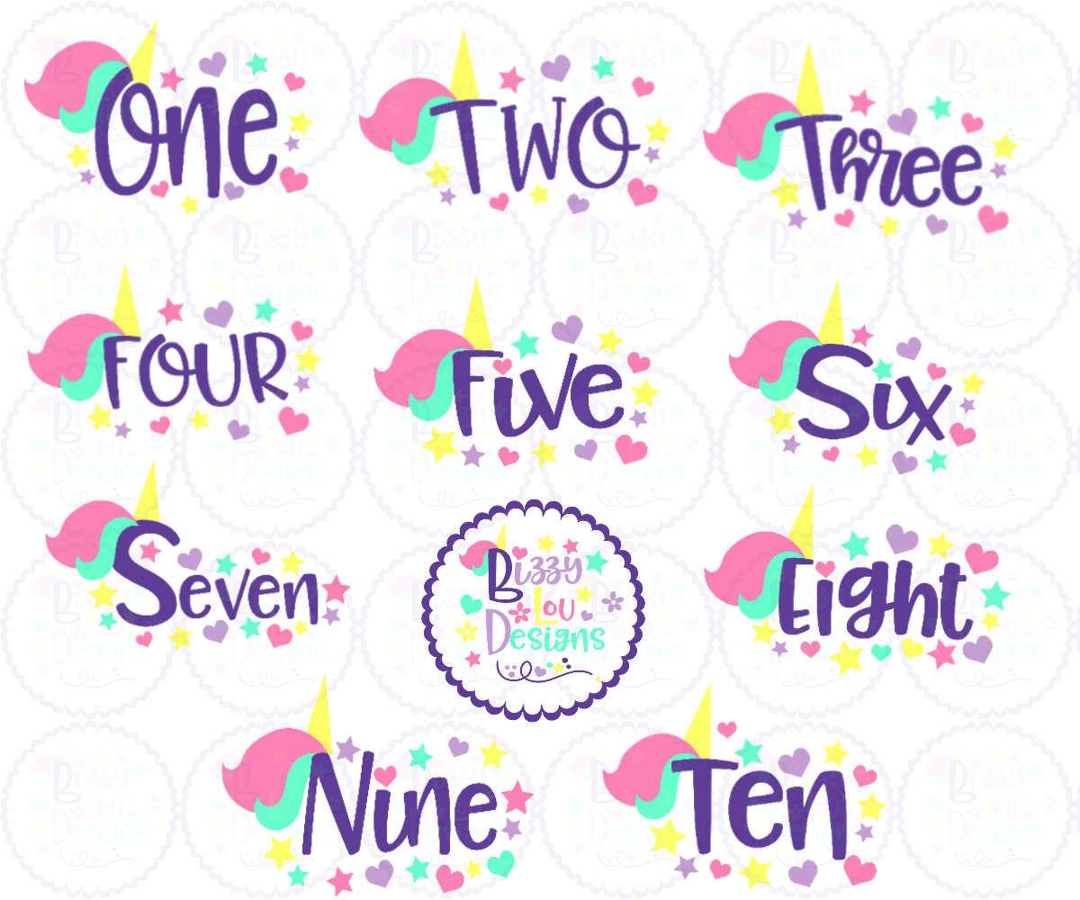 Unicorn Birthday Bundle Svg Eps Dxf Png By Bizzy Lou Designs