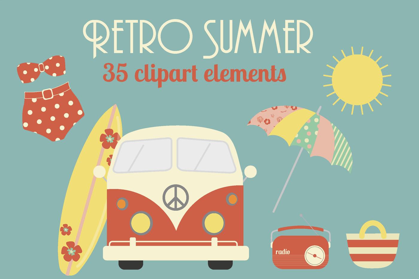 Retro Summer clipart By Poppymoon Design   TheHungryJPEG.com