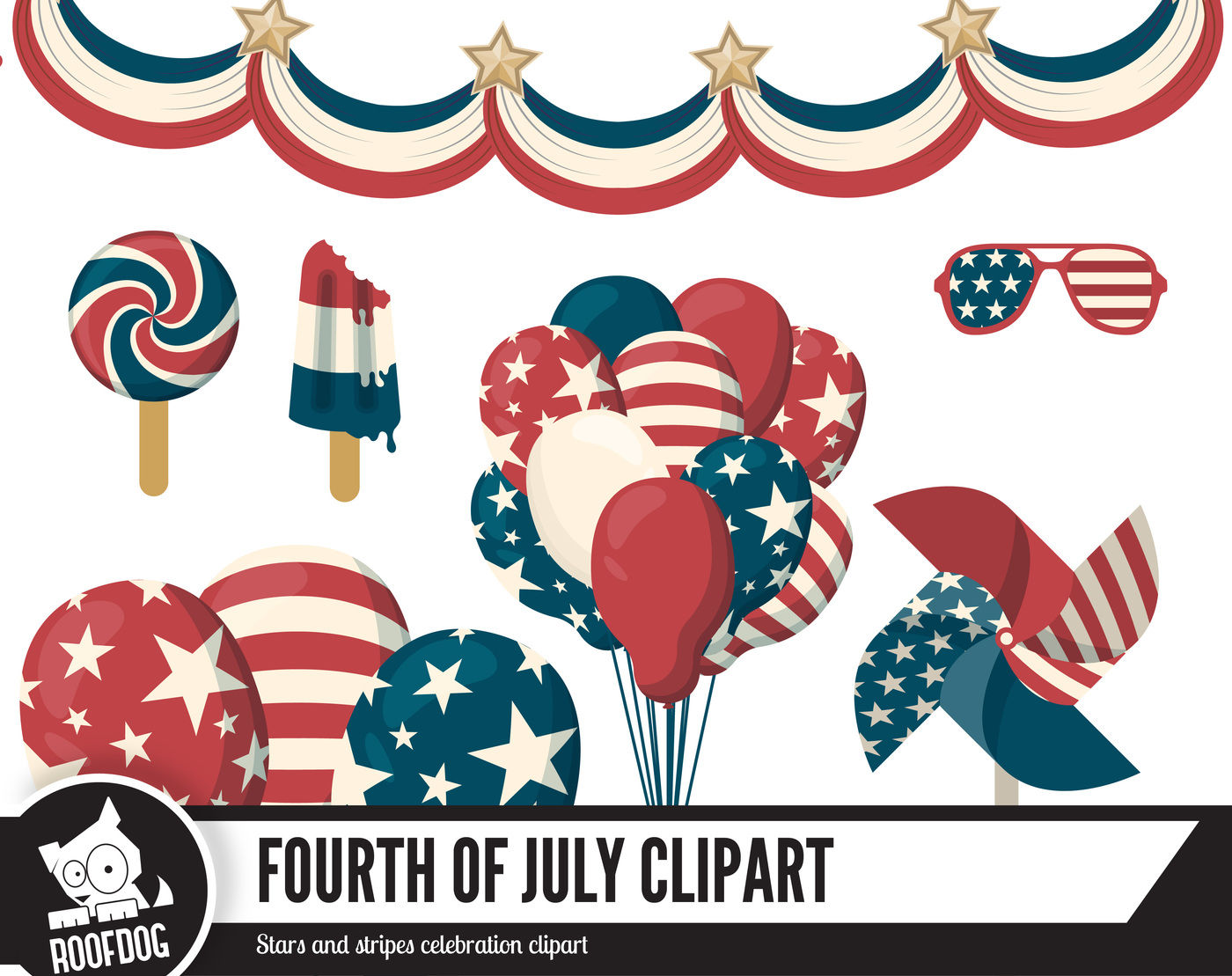 Fourth Of July Clip Art By Roofdog Designs Thehungryjpeg Com