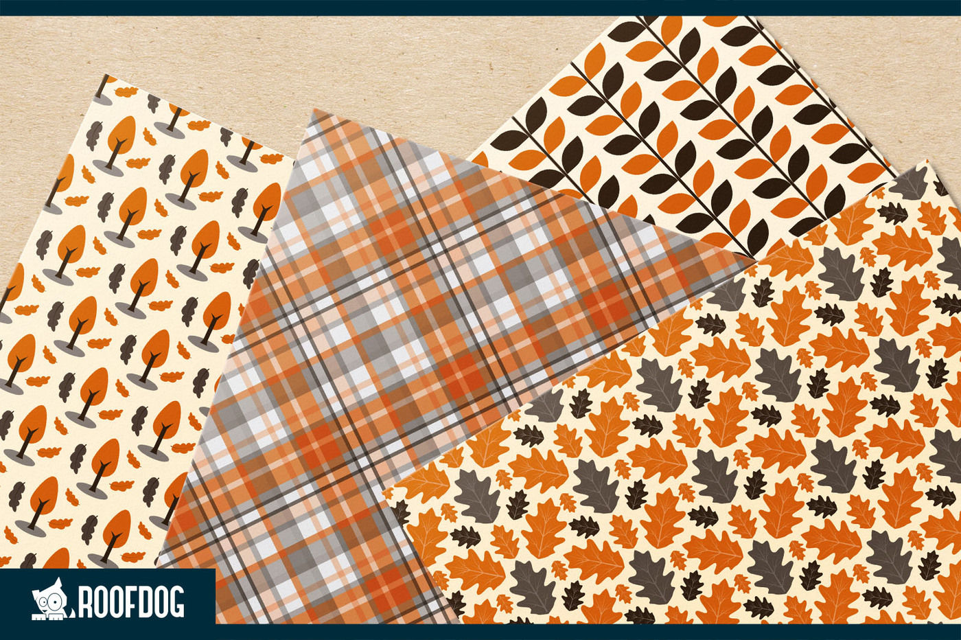 Autumn Leaves Digital Paper Fall Patterns By Roofdog Designs