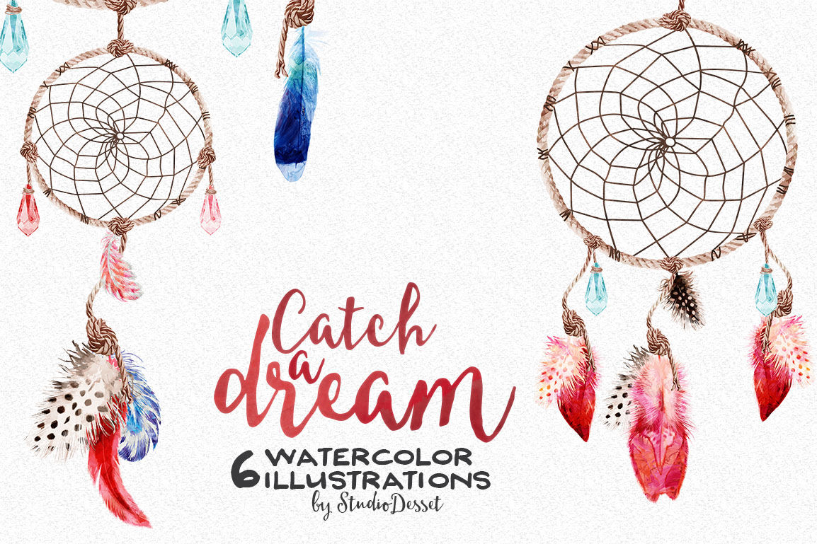 Watercolor Dreamcatcher Cliparts By Studiodesset Thehungryjpeg Com