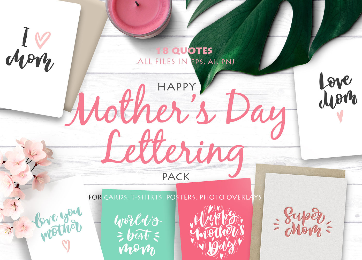 Happy Mother S Day Lettering Pack By Calamar Thehungryjpeg Com