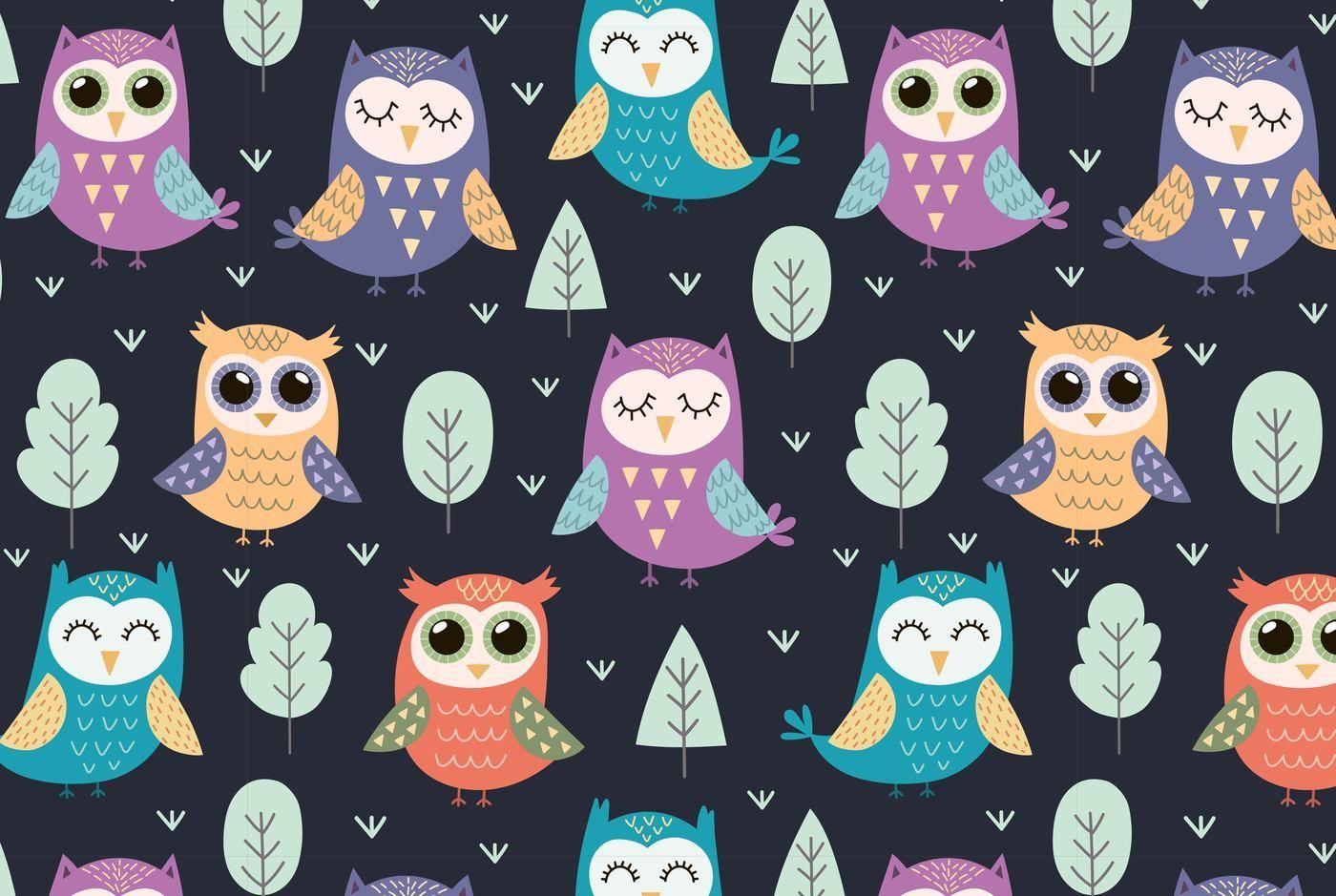 Owl Tales Seamless Pattern Elements By Juliyas Art