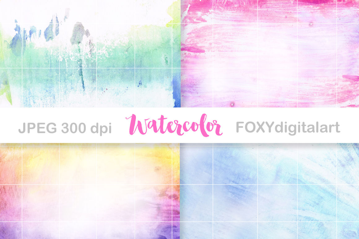 Digital Paper Watercolor Ombre Scrapbook Hand Painted By