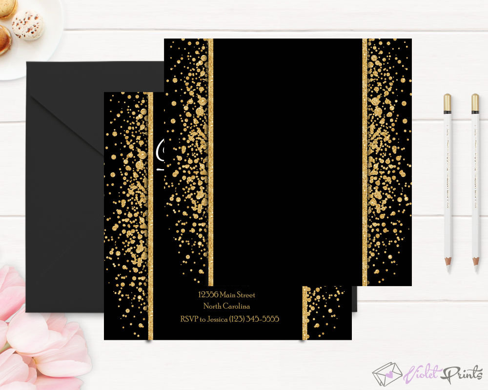 Gold and Black 3th Birthday Invitation Template By VioletPrints