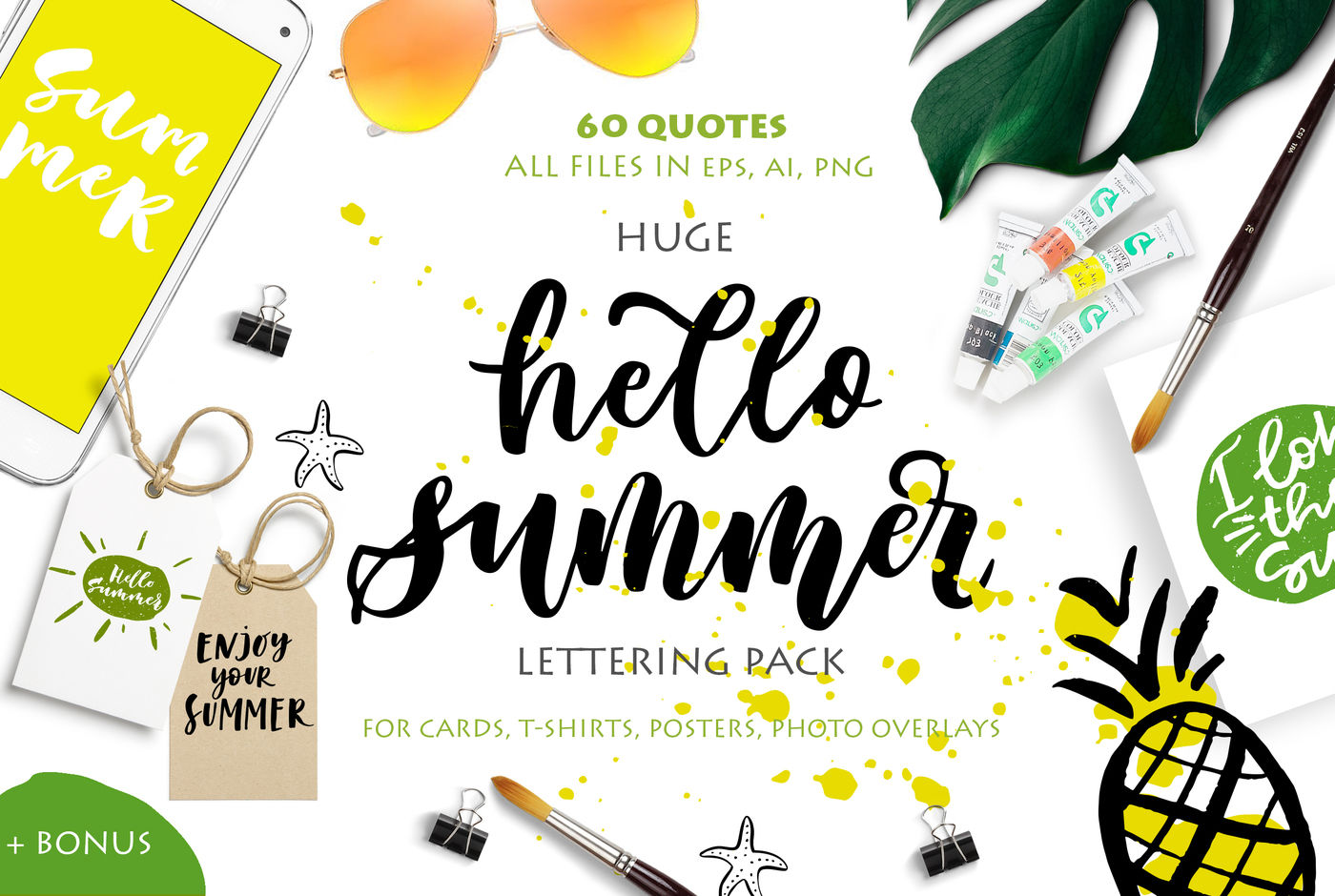 Hello Summer Lettering Pack By Calamar Thehungryjpeg Com