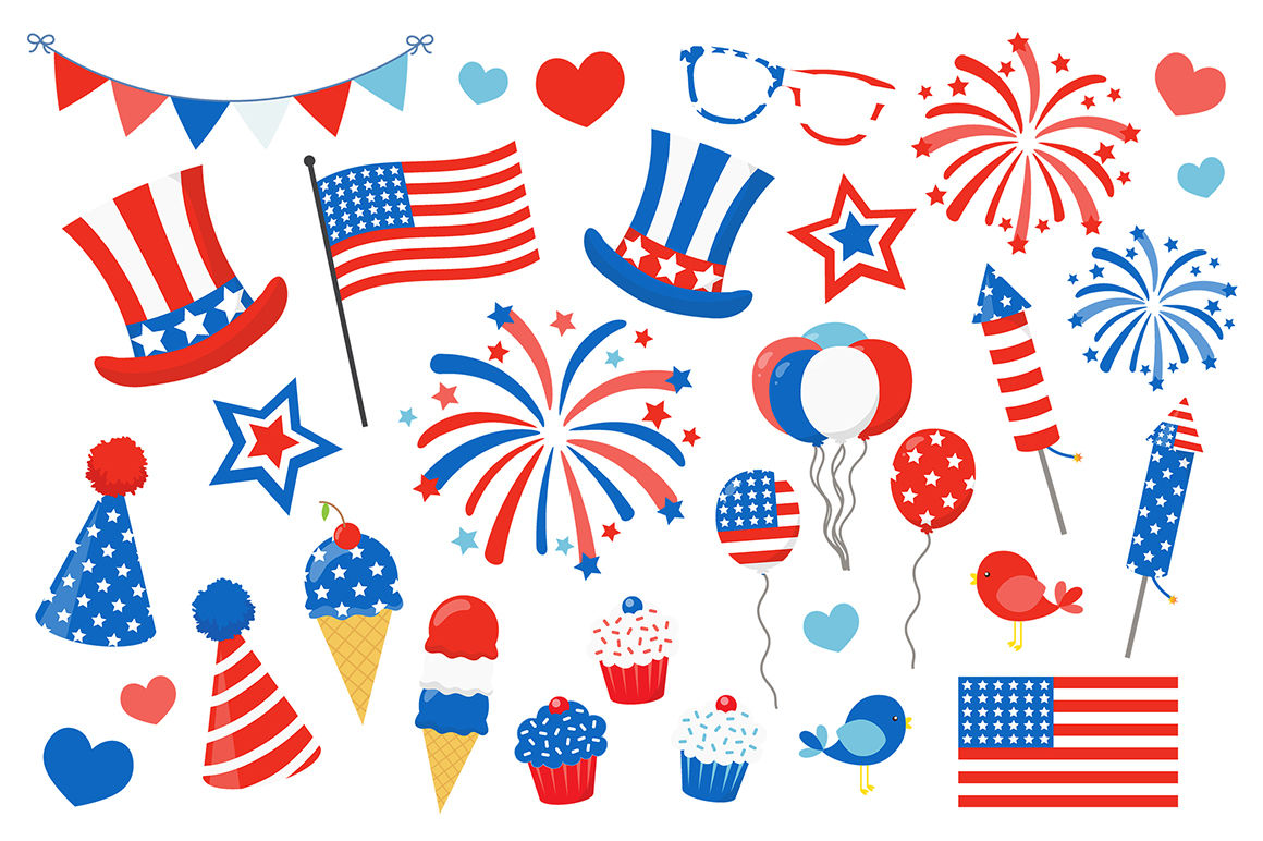 4th Of July Clipart By La Boutique Dei Colori Thehungryjpeg Com