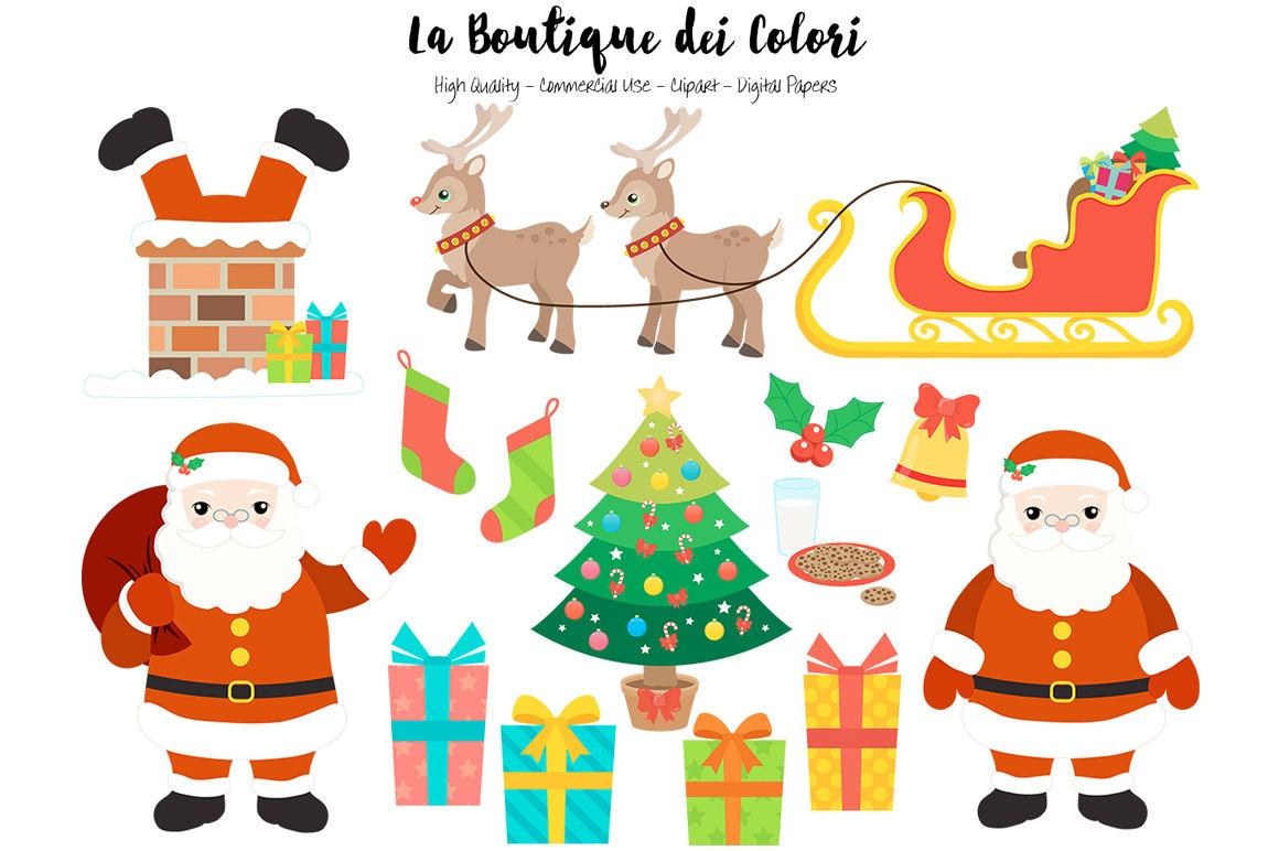 Christmas Santa Clipart By La Boutique Dei Colori Thehungryjpeg Com
