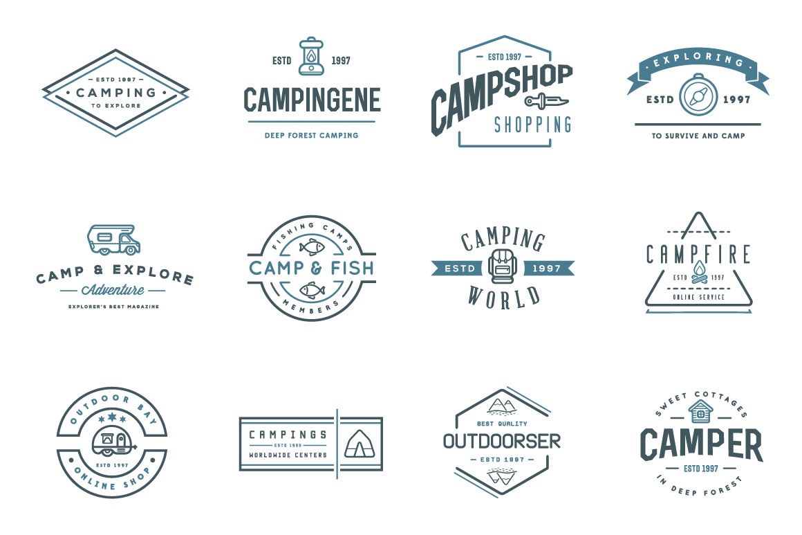 awesome camping icons and logo set by ckybe u0026 39 s store