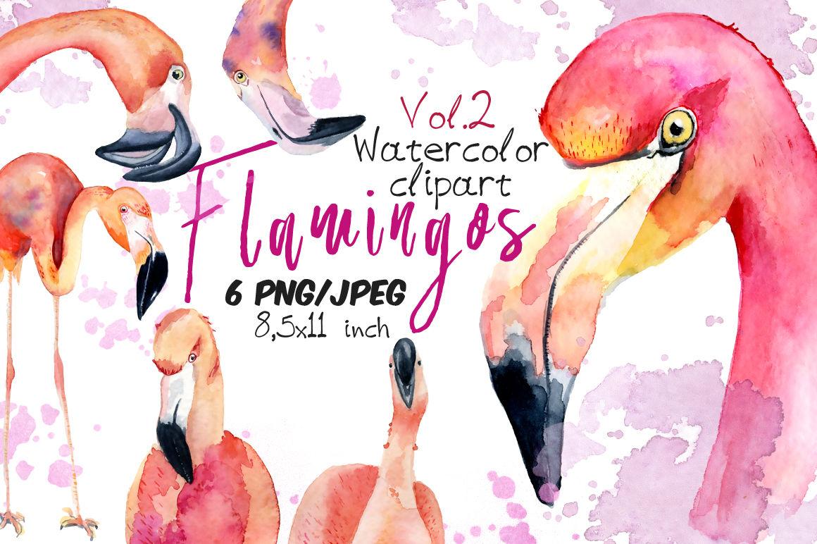 Watercolor flamingo clipart Tropical summer set. Vol.2 By ...