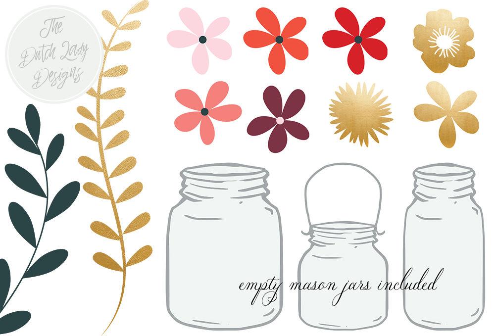 Flowers & Mason Jar Clipart Set By The Dutch Lady Designs ...