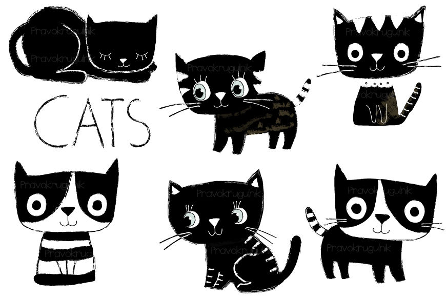 Cute Cats Clipart Black And White Cat Clip Art Cute Kitty By Pravokrugulnik Thehungryjpeg Com