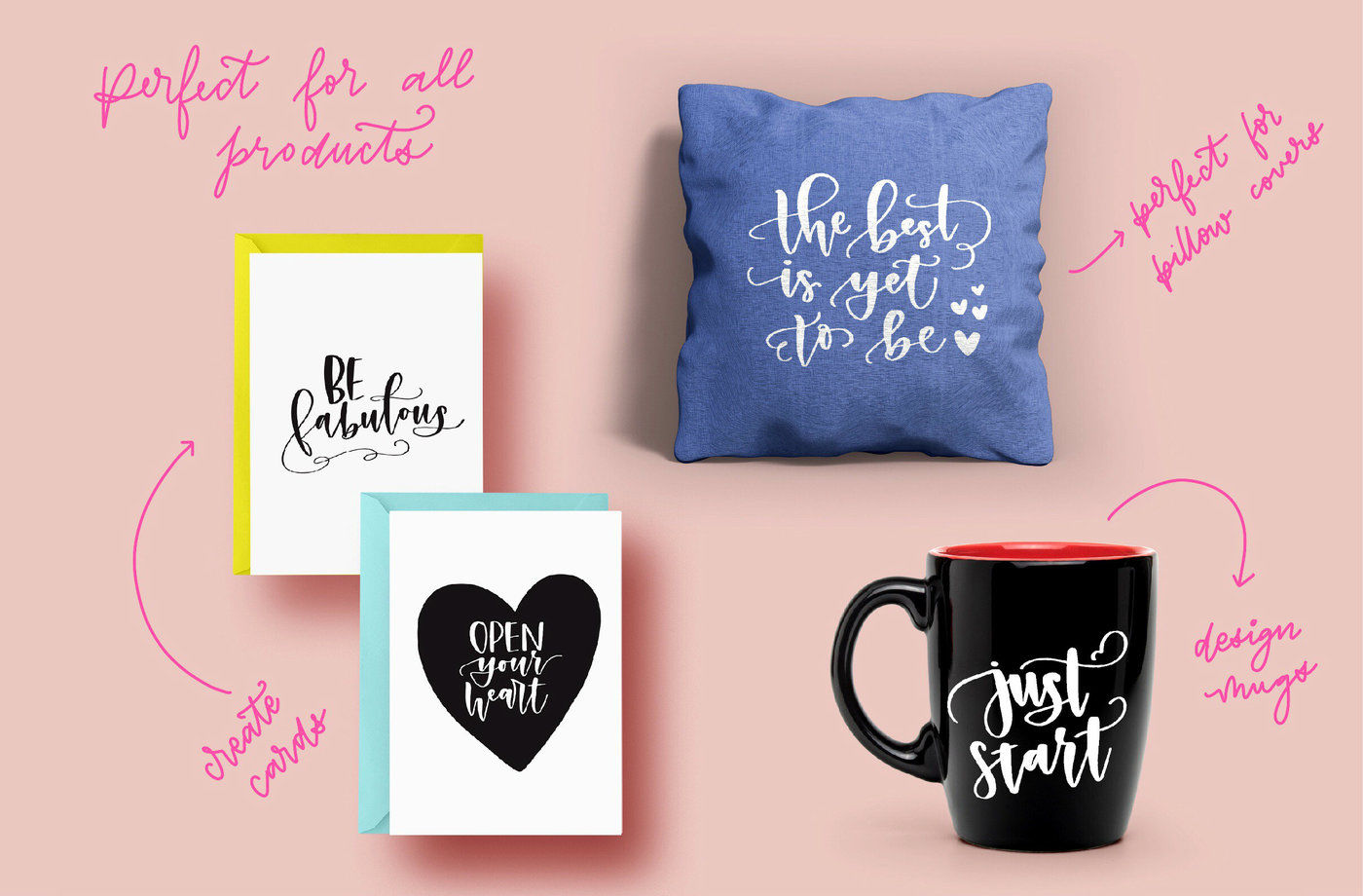 Positive Vibes Lettered Quote Bundle By The Ink Affair