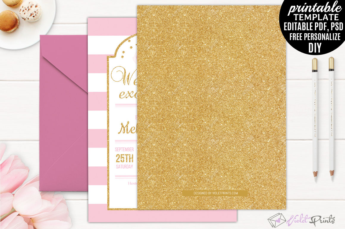 Tutu Excited Ballerina Baby Shower Invitation Template Girl Gold And