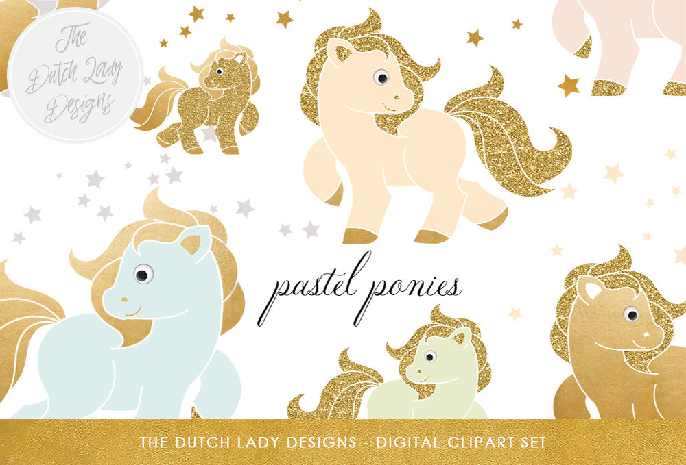 Little Pony Clipart In Pastel Colors By The Dutch Lady Designs