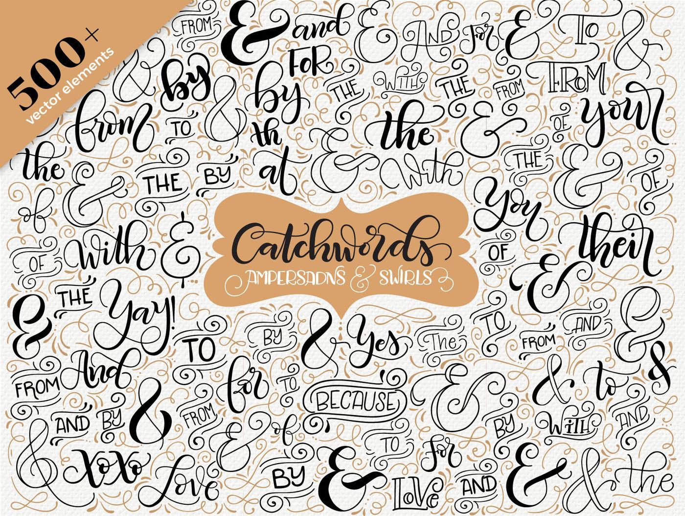 Catchwords Ampersands Swirls Vector Resources By Joy Kelley