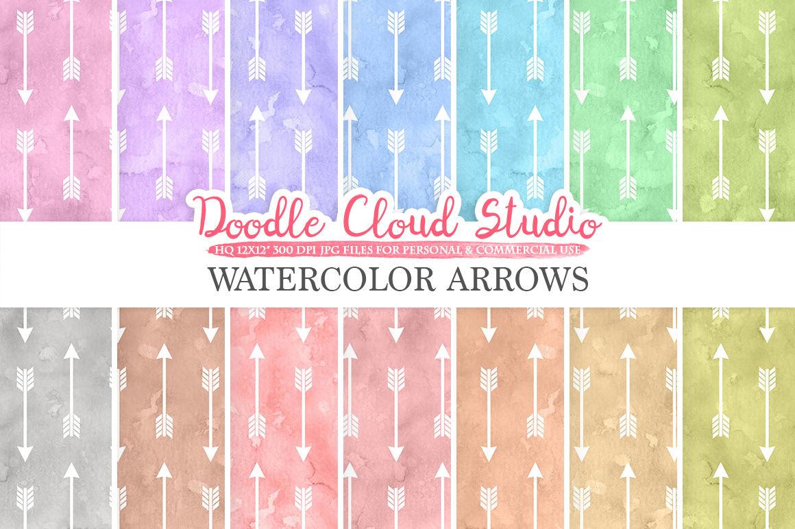 Watercolor Arrows Digital Paper Tribal Arrow Patterns Pastel