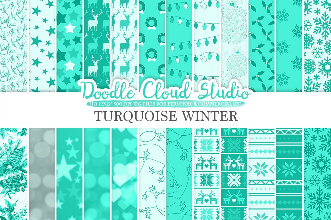 Turquoise Winter Digital Paper Christmas Holiday Aqua Patterns