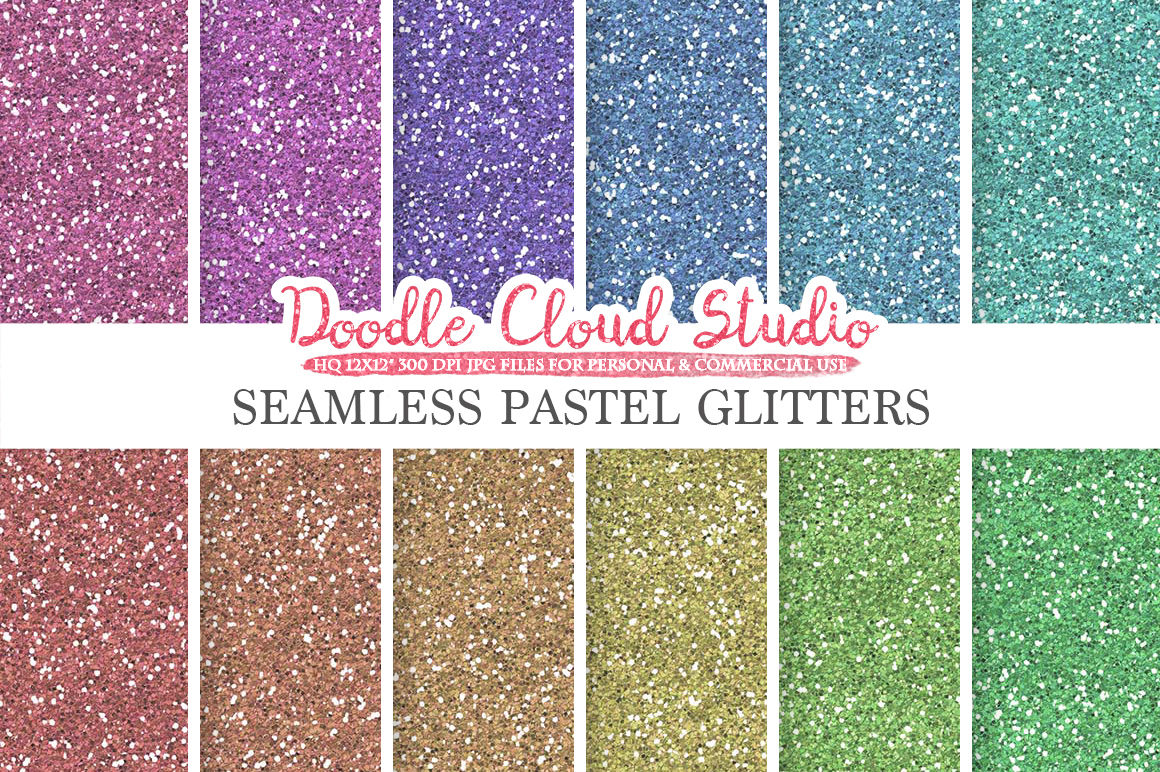 Seamless Pastel Glitter Digital Paper Light Colors Sparkling