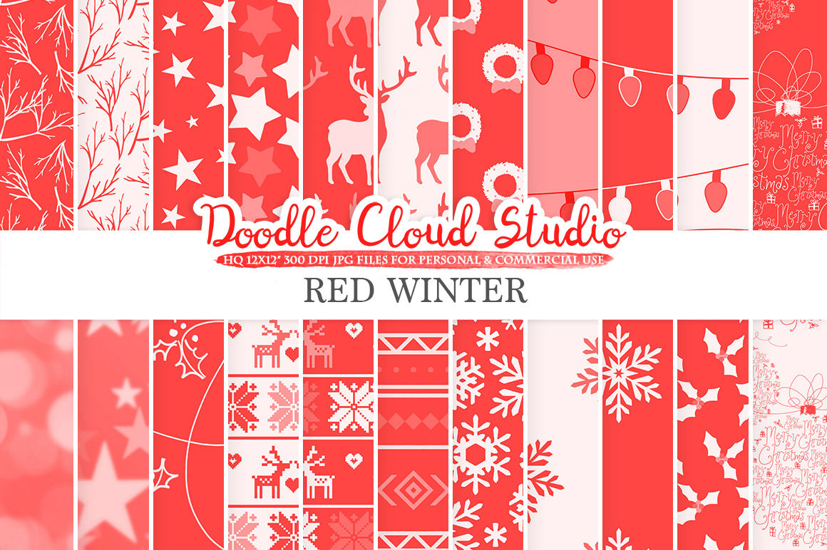 Red Winter Digital Paper Scarlet Christmas Holiday Patterns