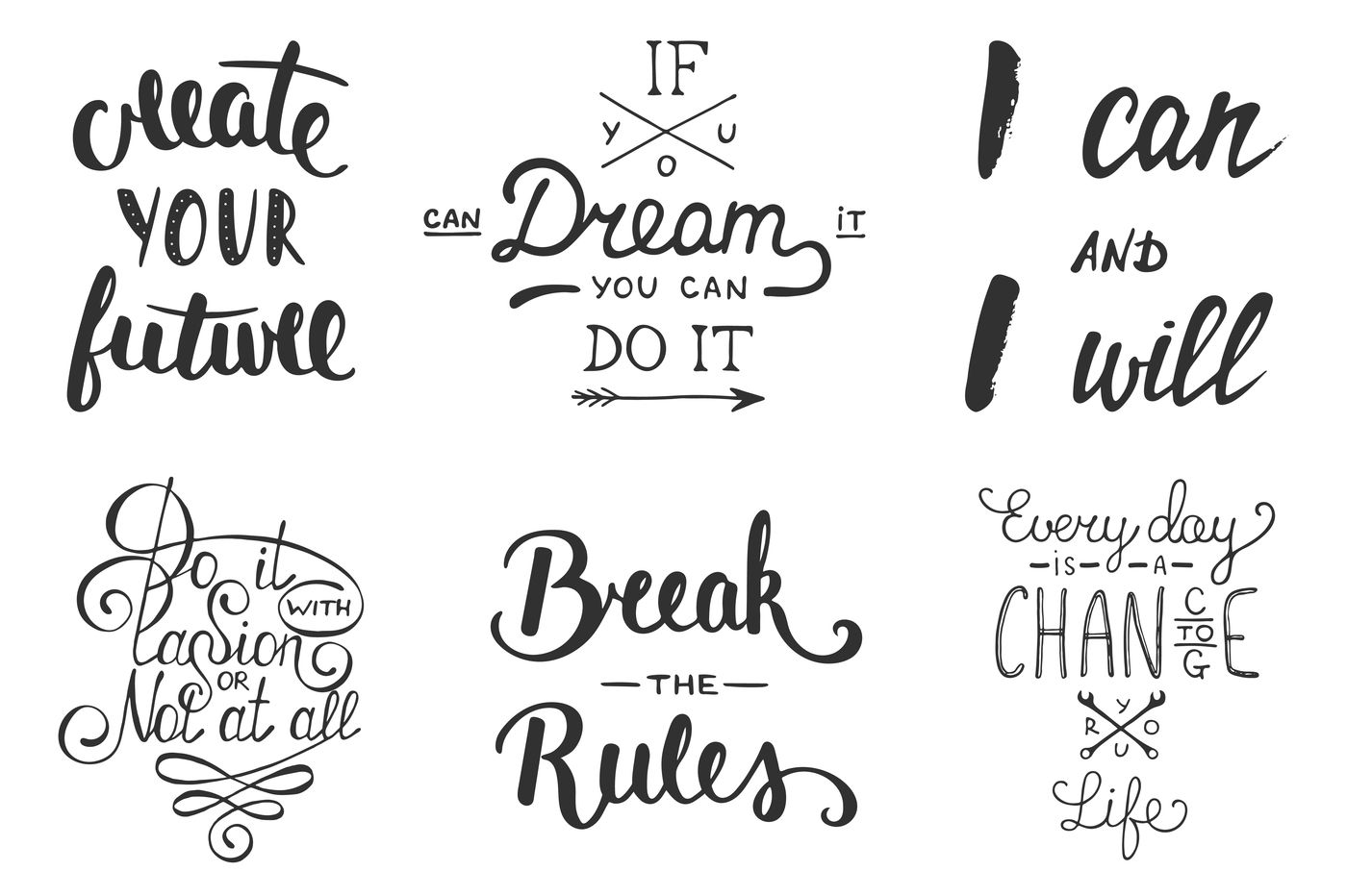 Motivational Lettering And Posters By Mia Akimo Thehungryjpeg Com