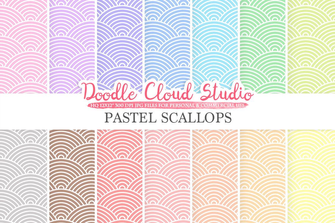 Pastel Scallops Digital Paper Japanese Patterns Digital Scallops