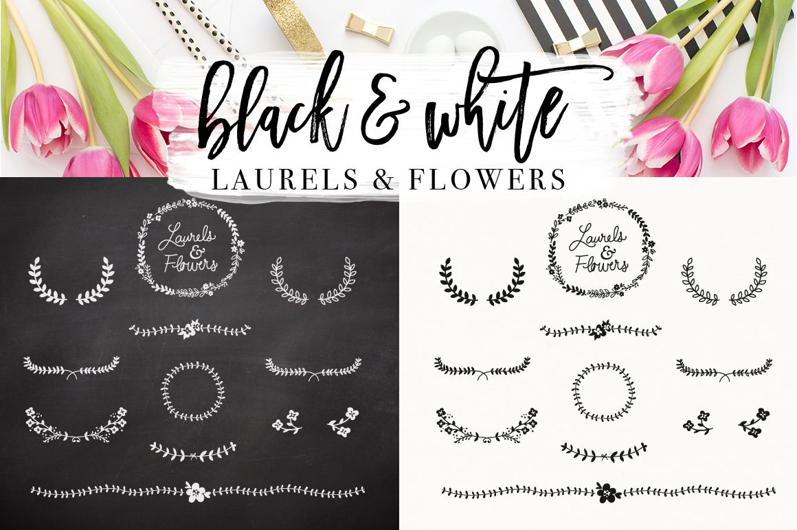 Laurel & Flower Designs + Photoshop Brush By Summit Avenue