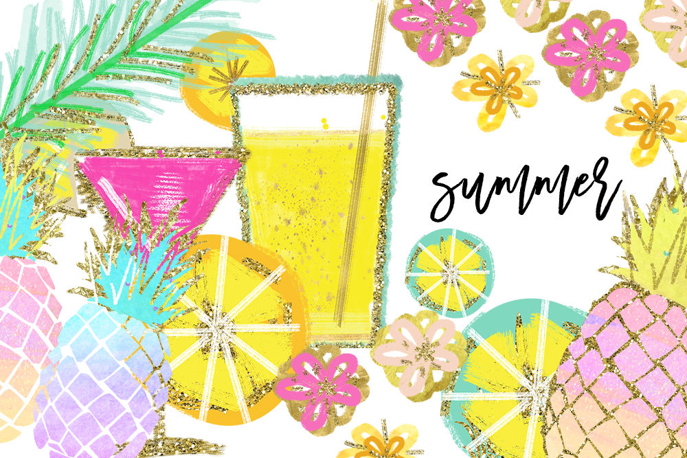 Tropical Clip Art, Watercolor Summer Clipart, Pineapple ...