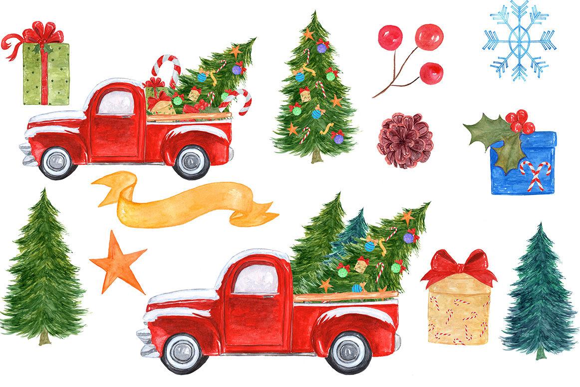 Watercolor Christmas truck clipart By vivastarkids ... (1162 x 775 Pixel)