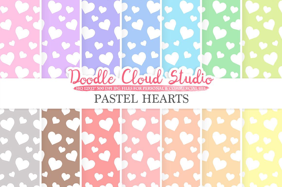 Pastel Hearts Digital Paper Hearts Patterns Digital Hearts