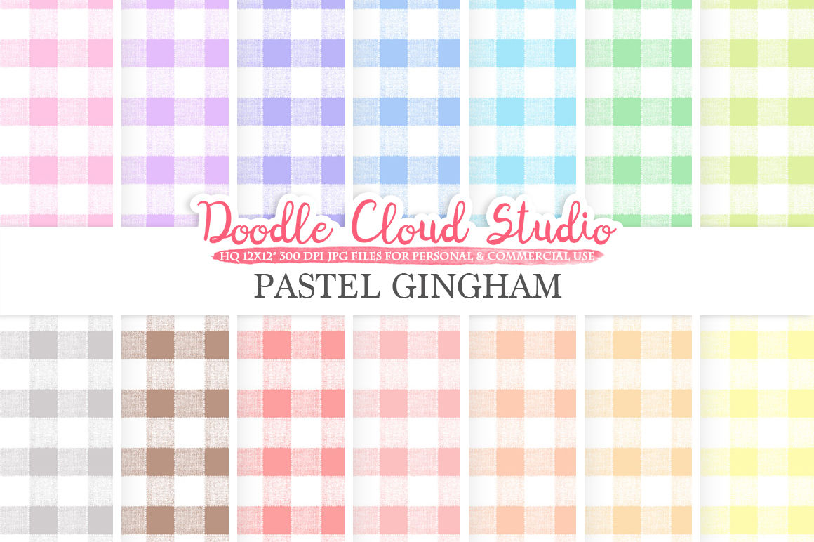Pastel Gingham Digital Paper Realistic Tablecloth Picnic Pattern