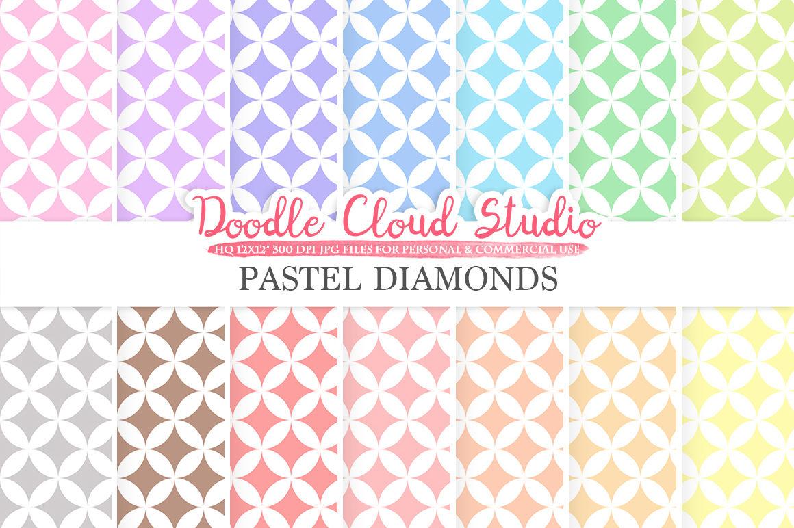 Pastel Diamond Digital Paper Diamond Pattern Digital Diamond