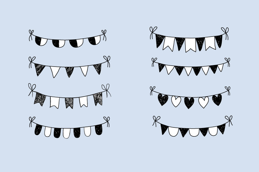 Doodle bunting clip art, Hand drawn bunting banner clipart ...
