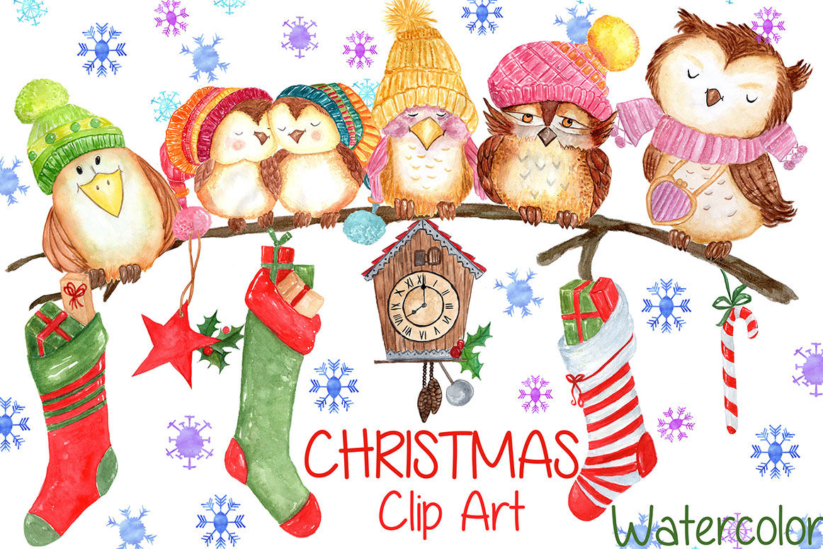Watercolor Christmas Clipart By Vivastarkids Thehungryjpeg Com