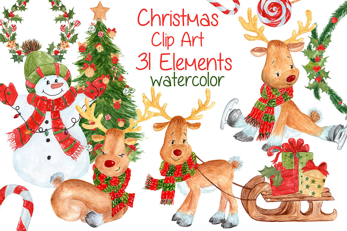 Watercolor Christmas Kids Clipart By Vivastarkids Thehungryjpeg Com