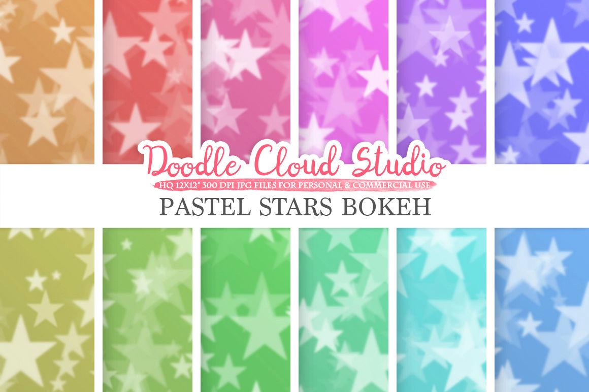 Pastel Stars Bokeh Digital Paper Pastel Colors Bokeh Overlay