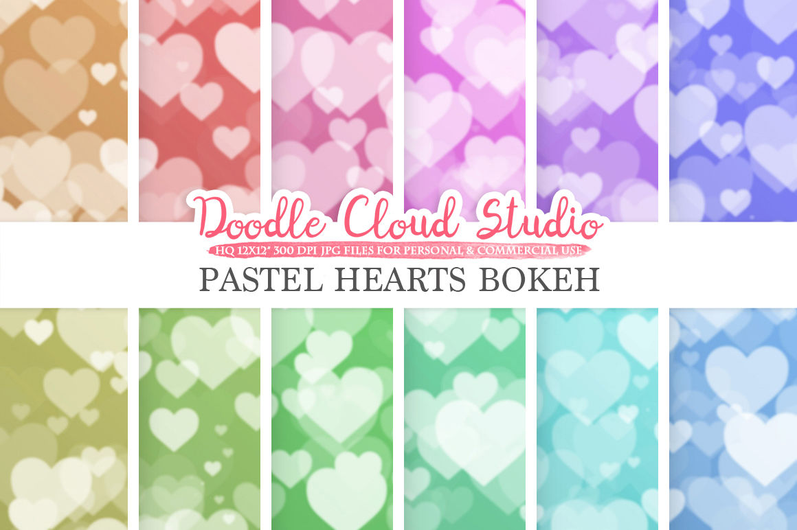 Pastel Hearts Bokeh Digital Paper Pastel Colors Bokeh Overlay