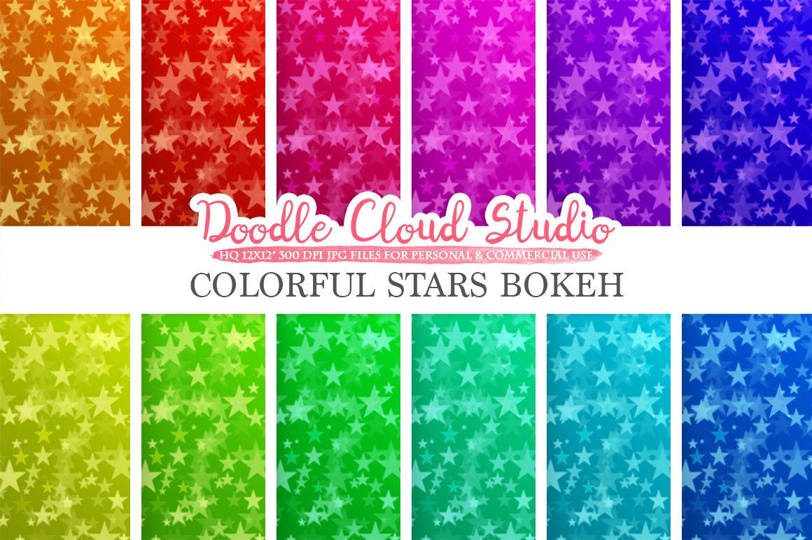 Colorful Stars Bokeh Digital Paper Colorful Bokeh Overlay