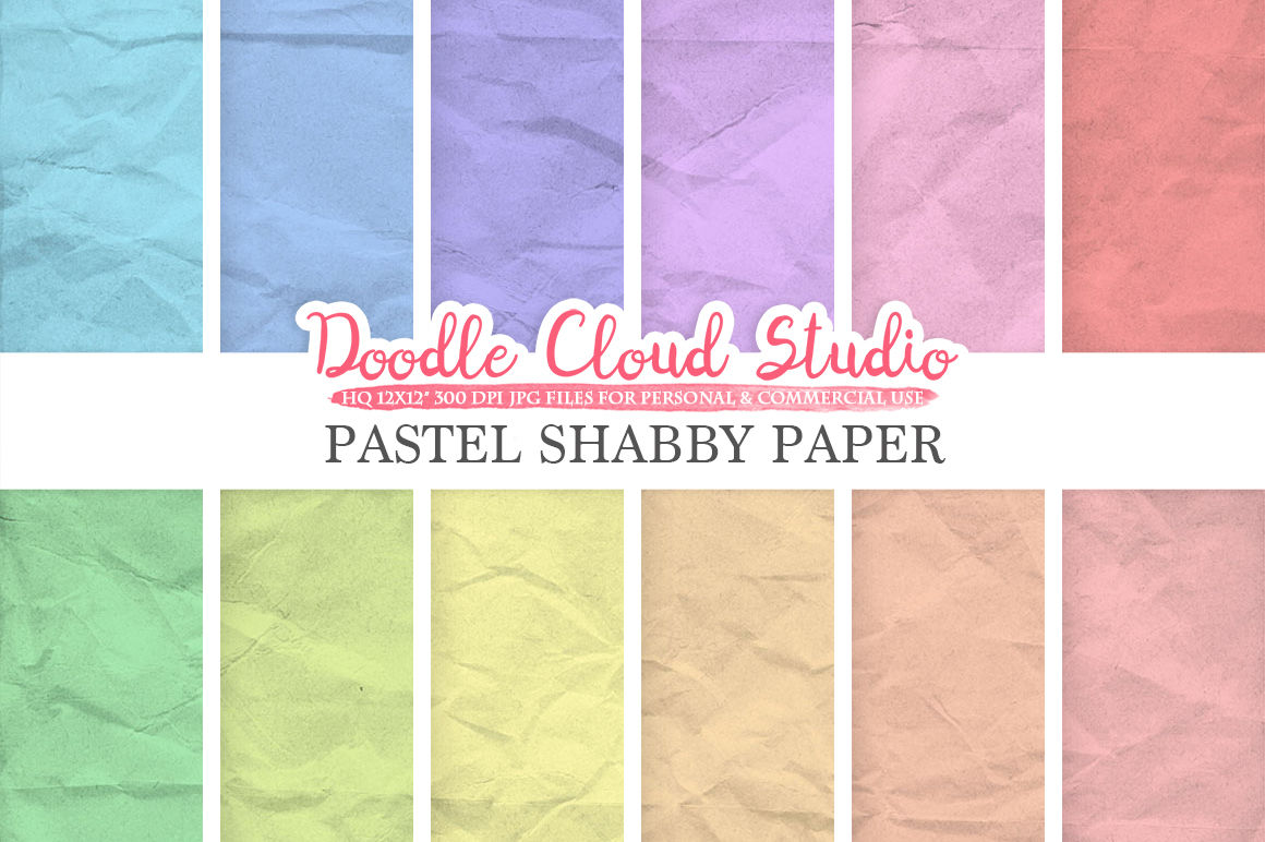 Pastel Shabby Digital Paper Pack Soft Colors Old Paper Texture