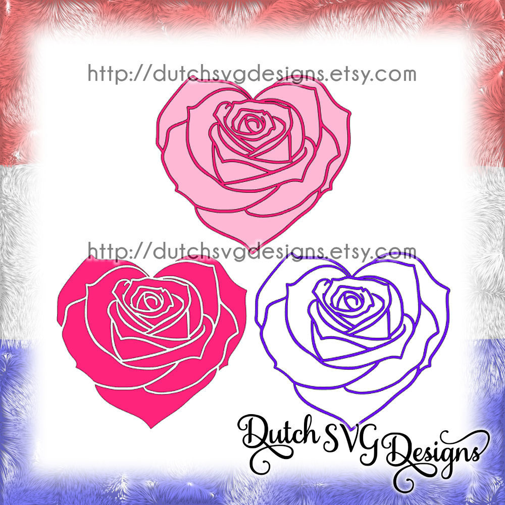 Cutting file rose in heart shape (3 files), in Jpg Png SVG EPS DXF, for Cricut & Silhouette ...