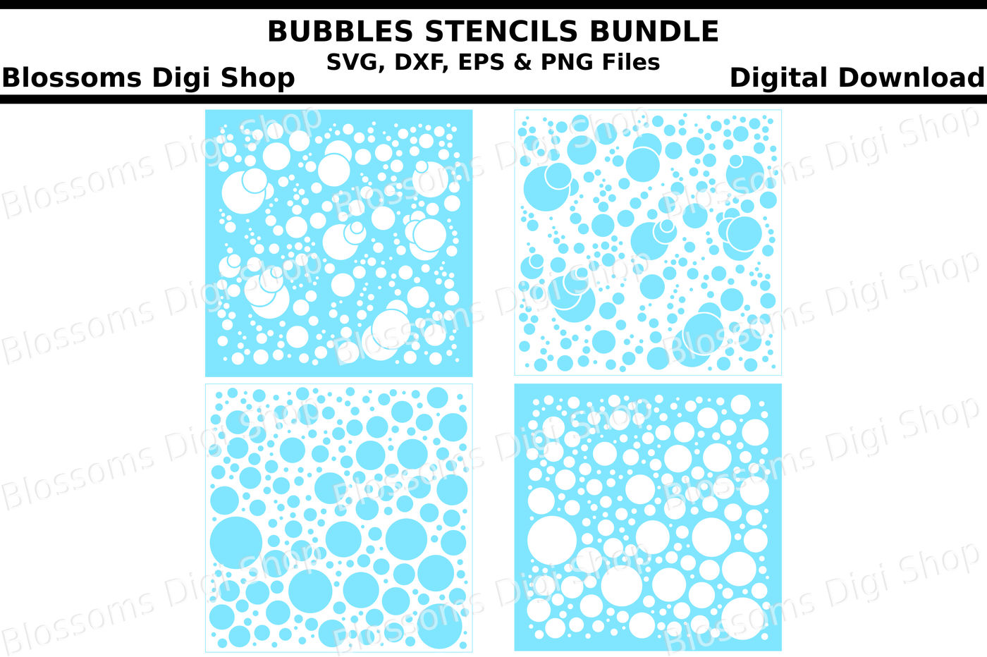 Bubbles Stencils Bundle Svg Dxf Eps And Png Files By Blossoms