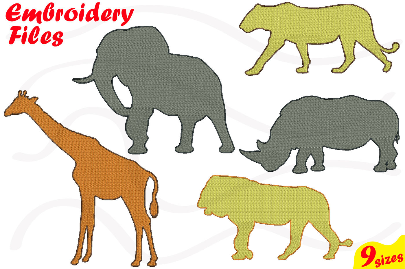 Safari Animals Jungle Designs For Embroidery Machine Instant Download Commercial Use Digital File 4x4 5x7 Hoop Icon Symbol Sign 48b By Hamhamart Thehungryjpeg Com