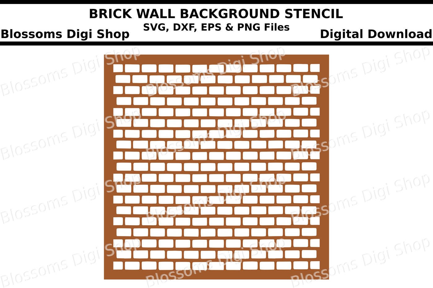 Brick wall background stencil SVG, DXF, EPS and PNG files By