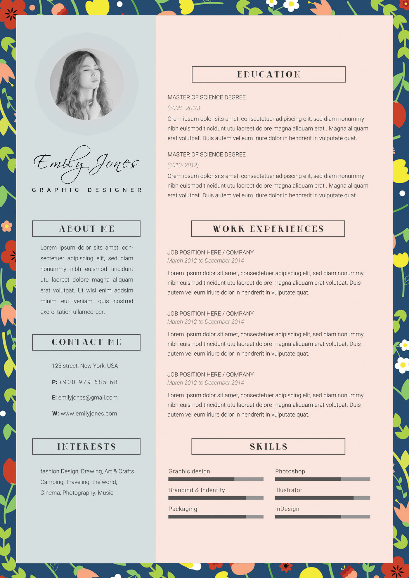 floral pattern resume template  cv