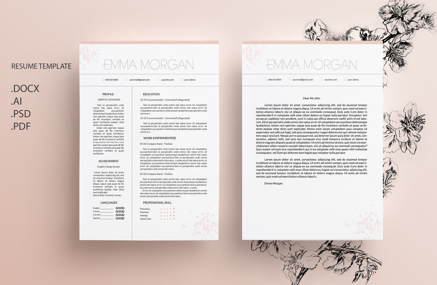 Sakura Resume Template / CV template / Letterhead Sky Simple Resume