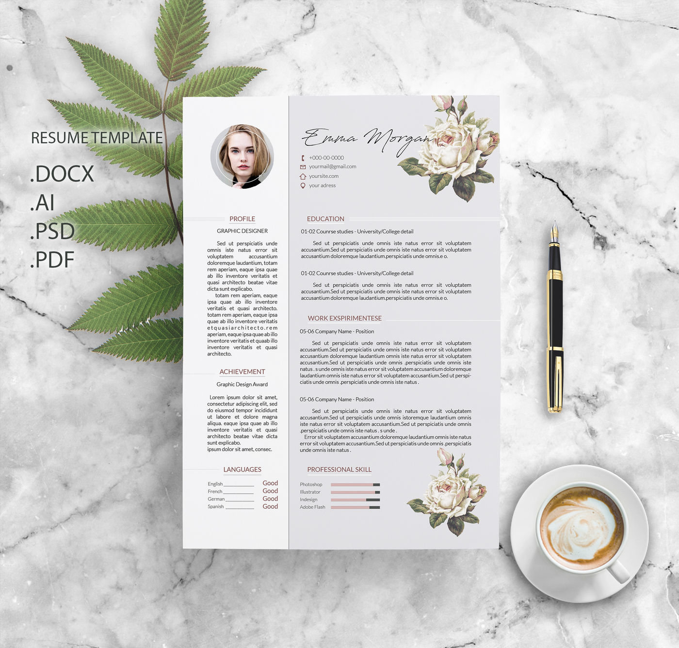 Flower Resume Template / CV template / Letterhead Simple Resume