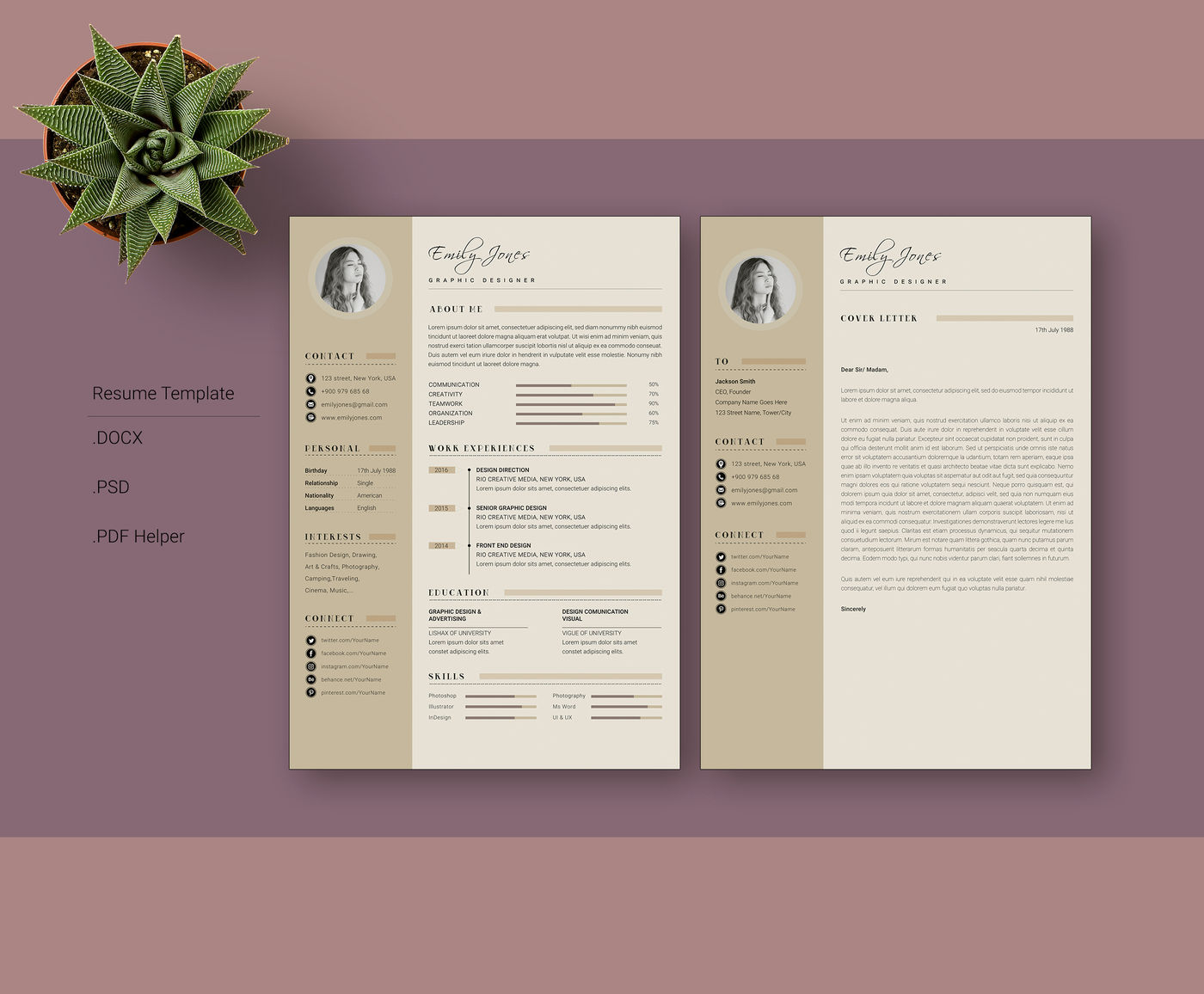Professional Modern Resume Cv Cover Letter Template By